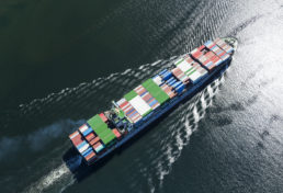 Container Ship Overhead View